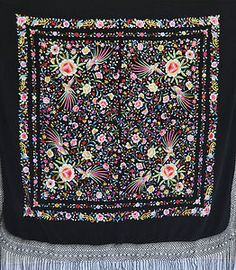 Brightly coloured vintage hand embroidered silk flamenco piano shawl from Amelia's Gallery.
