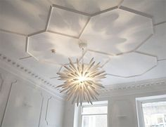 beautiful ceiling moulding with a great light fixture - Ceiling Molding Design Ideas