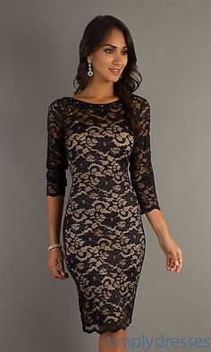 Knee Length Dress with Lace Overlay