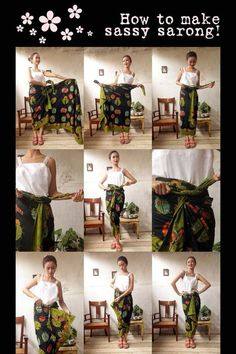 Batik Amarillis Made in Indonesia How to wear sassy sarong!From the collection: My Closet on Clozette IndonesiaTie a sarong Kebaya Hijab, Batik Kebaya, Kebaya Dress, Kebaya Muslim, Batik Dress, Blouse Batik, Batik Fashion, Hijab Fashion, Diy Fashion