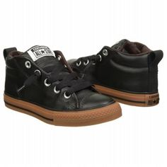 Converse Chuck Taylor All Star Street Mid Top Leather Sneaker Black Gum  Leather Shoes Men ccbaf541c