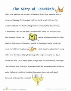 Hanukkah Preschool Comprehension Community & Cultures Worksheets: Story of Hanukkah for Children