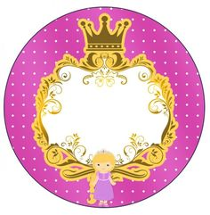 Tubetes Princesa Loira 2 Princess Aurora Party, Princess Rapunzel, Princess Theme, Baby Princess, Baby Shower Labels, Gift Tags Printable, Button Badge, Cupcake Toppers, Party Themes