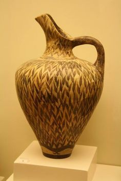 Minoan jug made from clay. This jug dates from the end of the New-Palace period (c. 1450 BC) and features a distinctive leaf pattern. Originally from Phaistos on the island of Crete. (Heraklion Archaeological Museum on the island of Crete, Greece.)