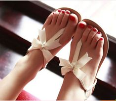 Size 7 please! :) Cute Bowknot Flat Sandals via Storenvy.
