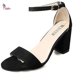 pwne Sandales Femmes Pu Confort Décontracté Été Joint De Séparation De Marche Gris Talon Noir Blanc 3In-3 3/4En Noir Us7.5 / Eu38 / Uk5.5 / Cn38 - Chaussures pwne (*Partner-Link)
