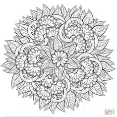 Abstract Flowers Zentangle | Super Coloring