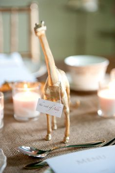 inspiration: gold painted animal place card holders