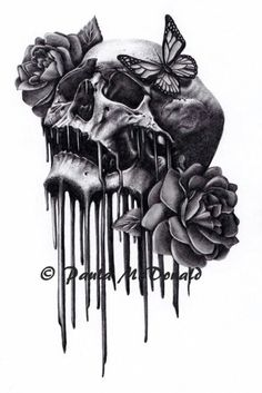 Perfect combo of skulls and roses and butterfly tattoo Rabe Tattoo, Et Tattoo, Piercing Tattoo, Piercings, Tattoo Drawings, Bild Tattoos, Love Tattoos, Beautiful Tattoos, Body Art Tattoos