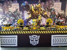 Decoração e Produção de eventos em Curitiba e São Paulo Transformers Birthday Parties, Transformer Birthday, Rescue Bots, Transformers Bumblebee, Festa Party, 5th Birthday, Tao, Pirates, Transformer Party