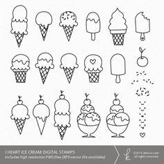 I Heart Ice Cream Digital Stamps Clip Art (Personal + Commercial Use)   k.becca