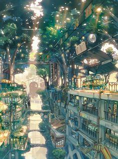 By Tengoku Shounen/Imperial Boy. Often mistagged as Tekkon Kinkreet concept art. Fantasy City, Fantasy Places, Fantasy World, Fantasy Forest, Art Environnemental, Creation Art, Forest City, Wow Art, Environment Design