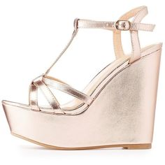 78a5ad4400e Charlotte Russe Metallic T-Strap Wedge Sandals ( 36) ❤ liked on Polyvore  featuring shoes