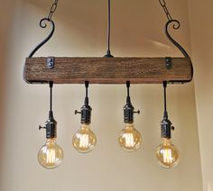 Rustic lighting – wood chandelier – oak chandelier – rustic light fixture – farm… - All For Decoration Chandelier Design, Wood Chandelier, Rustic Light Fixtures, Fixtures, Expensive Decor, Swag Light, Pendant Fixture, Rustic Chandelier, Rustic Kitchen Lighting
