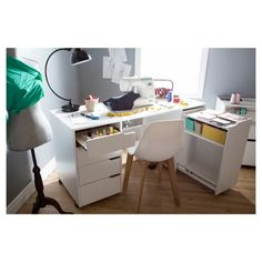 Crea Sewing Craft Table On Wheels - Pure White - South Shore : Target