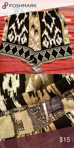 🌱🌞UO Knit Boho Highwaisted Hotpants Shorts🌞🌱 Super cute high waisted sparkle and fade hot pants in a gorgeous pattern. Same on the front and back. Great for festival wear! By Sparkle and Fade brand from Urban Outfitters. Super chic over black tights!! Urban Outfitters Shorts