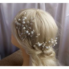 FREE SHIPPING Pearl and Crytal Flower Bridal Pin, Vintage Wedding hair... ($25) ❤ liked on Polyvore featuring accessories, hair accessories, etsyfru, pearl bridal hair accessories, vintage bridal hair accessories, flower hair accessories, bride hair accessories and pearl hair accessories