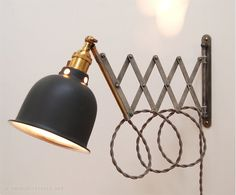 Scissor Lamp! Articulating Adjustable Brass Swing Sconce - Industrial Wall Mount Extension Bedside Reading Light w/ Antique Patina -Style X3