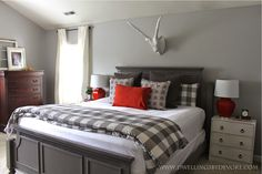 gorgeous gray and poppy bedroom on a budget; love the buffalo check