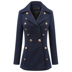 Single Breasted Button Detail Long Sleeve Notched Lapel Coat ($44) ❤ liked on Polyvore featuring outerwear, coats, coats & jackets, jackets, long sleeve coat, single breasted coat and button coat