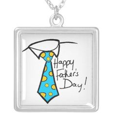 Happy Fathers Day Pokadot Tie Silver Plated Necklace