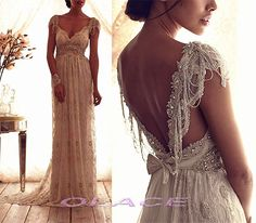 Sexy Low V Neckline Summer Beach Wedding Dresses with by OLACE, $249.00