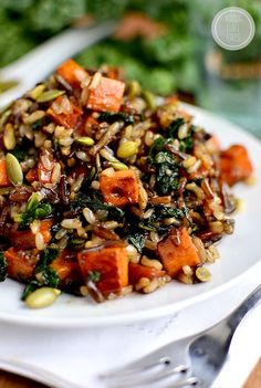 Caramelized Sweet Potato and Kale Fried Wild Rice #glutenfree | iowagirleats.com via @iowagirleats