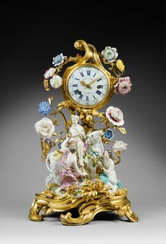 "A LOUIS XV MANTEL CLOCK ""EUROPA AND THE BULL"" BY GÉRARD BENOÎT, THE PORCELAIN: MEISSEN, DATE CIRCA 1750. THE GILT BRONZE: PARIS, DATE CIRCA 1750."
