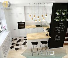 Apartment Kitchen, Home Decor Kitchen, Interior Design Kitchen, New Kitchen, Home Kitchens, Kitchen Black, Kitchen Ideas, Kitchen Small, Kitchen Modern