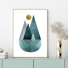 Downloadable print Teal gold Modern Mountain printable art | Etsy Printing Services, Online Printing, Trending Art, Geometric Wall Art, Teal And Gold, Minimalist Poster, Living Room Art, Printable Wall Art, Artwork