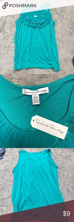 New ruffled tank top! Brand new with tags beautiful greenish tank top is a size large. Has lace with ruffles in the top. Very soft!! Such a cute tank. No stains or rips. ⭕comes from a cat free smoke free home! Tops Tank Tops