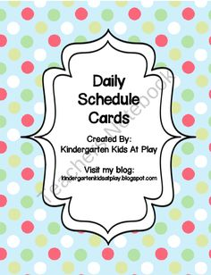 Simple and Cute Daily Schedule Cards product from Kindergarten-Kids-At-Play on TeachersNotebook.com