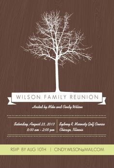 Brown And Green Tree Family Reunion Invitation