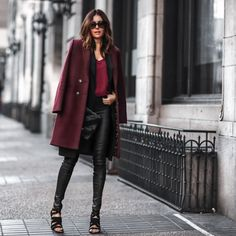 burgundy + black faux leather style