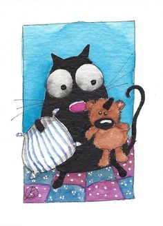 ACEO Original watercolor painting whimsical fat black cat - bedtime teddy #IllustrationArt