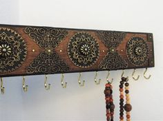 Necklace Holder Moroccan Decor 11 Hooks Wall by RegalosRusticos