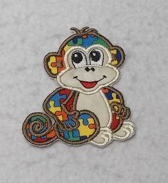 Monkey Autism Awareness Puzzle Piece - MADE to ORDER - Choose SIZE - Tutu & Shirt Supplies - Iron on Applique Patch 6815 by TheFabricScene on Etsy