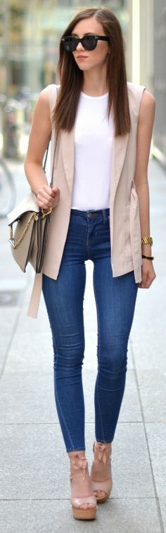 sleeveless jacket trend + shade of blush pink + feminine charm + Barbora Ondrackova's cute spring style + pair of skinny denim jeans + platforms  Jacket: River Islans, Top: Acne, Jeans/Shoes: Topshop, Bag: Chloe.