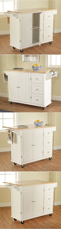 Kitchen Islands Kitchen Carts 115753: White Kitchen Cart W Storage Wood Drop Leaf Island Serving Table Cabinet Utility -> BUY IT NOW ONLY: $290.99 on eBay!
