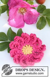 """Fleur d'églantine DROPS au crochet, en """"Muskat"""". ~ DROPS Design"""
