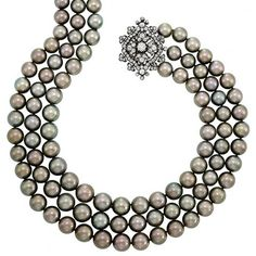 Triple Strand Tahitian Gray Cultured Pearl Necklace with Antique Silver, Gold and Diamond Clasp | Doyle Auction House