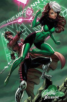 Uncanny X-Men - Rogue & Gambit by J Scott Campbell X Men Comics, Bd Comics, Marvel Comics Art, Rogue Comics, Marvel Girls, Marvel Heroes, Marvel Characters, Marvel Avengers, Gambit Marvel
