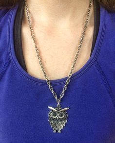 Silver Owl Necklace Jewelry, Owl Charm Pendant Necklace, Bold Statement Necklace, Personalized Boho Necklace Gift For Her, Birthday Mom Gift by JellyTreeJewelry on Etsy https://www.etsy.com/ca/listing/539578063/silver-owl-necklace-jewelry-owl-charm