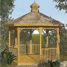 "Hart Design Gazebo Woodworking Project Plan by Hart Design. $14.99. Build your own backyard oasis! This ornate octagonal shaped Gazebo makes a beautiful garden hide-a-way.  This huge 24"" x 36"" blueprint style plan has step-by-step instructions and clear detailed drawings.  It expertly guides you through the entire process, from foundation to roof, including the nostalgic cupola. USA  Dimensions: 12 ft. wide by 15 ft. high.  This is a woodworking project plan and ..."