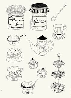 Afternoon tea, black and white line illustation