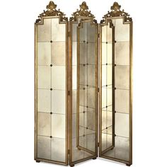 Three Panel Venetian Mirror Screen Elizabeth Marshall Screens & Panels Screens & Room Divi