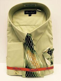 5405f647ba Bruno Conte Men's Light Green Dress Shirt Tie, Hanky, Cuff Links Size 20.5  36