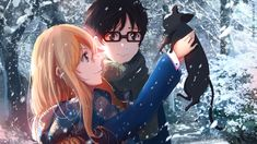 Anime Your Lie In April Cat Kaori Miyazono Kousei Arima Snow Anime Glasses Girl…