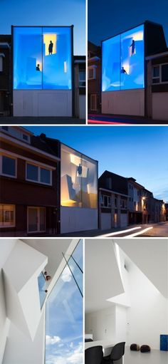 The Narrow House designed by Bassam El Okeily for a couple in their sixties in the small city of Bilzen, Belgium.  This is Okeily's first house. The house includes a library in the lower balcony area, and an artist's studio in the upper balcony. Blue light turns the façade into a spectacular light sculpture at night.