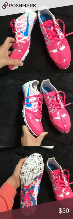 Nike track shoes. Pink and blue with spikes Nike neon pink and blue track shoes with spike! Size 8.5. Worn maybe 3 times. Comes with a spike removal and bag!! In great shape! Middle spike is a little run down, but still works perfectly fine. Willing to negotiate! Nike Shoes Athletic Shoes